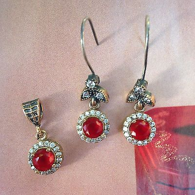 Ruby & White Sapphire Set * Sterling Silver * PRETTY * CHIC!!