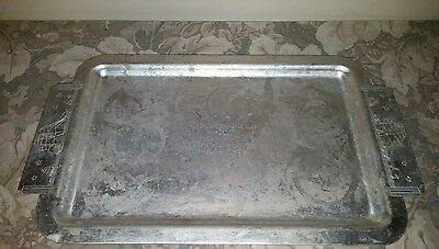 VTG Kensington Lurelle Guild Large Aluminum Serving Tray / w/ Engraved Honor