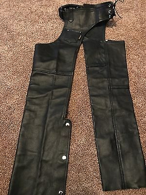 Hot Leather Black Leather Chaps M