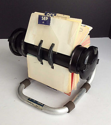 "Vintage Rolodex Silver Frame 5024X Open Rotary Card Address File 4"" x 2.25"" Card"