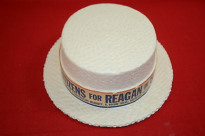 Styrofoam Presidential Campaign Hats Straw hat 1980 Citizens For Reagan  1344