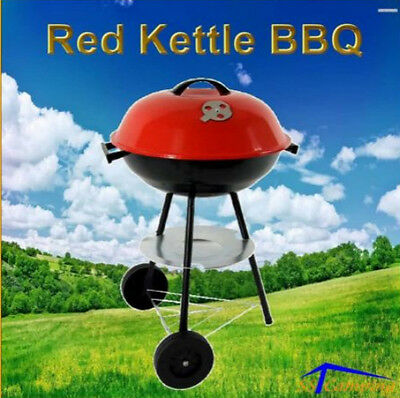 Portable Red Kettle Mobile BBQ Grill/Rack Charcoal Barbecue Picnic Outdoor 3legs