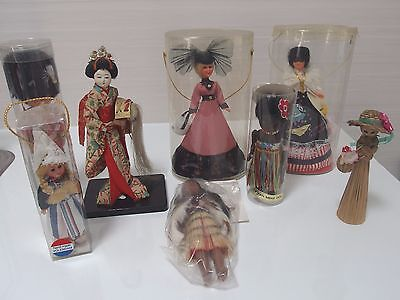 International Doll Collection, 8 Dolls, Some Vintage Includes 1960's Geisha