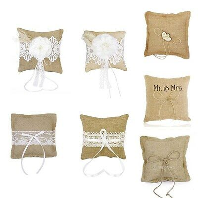 Lace Burlap Hessian Ring Bearer Pillow Cushion for Vintage Rustic Wedding Party