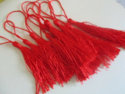 REDUCED ~10 x LARGE-RED -Silky Tassels for crafts 12-13 cms long ~Bookmark