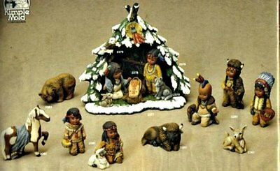 Ceramic Bisque Christmas 15 Pc Indian Children Nativity Wigwam - Ready To Paint