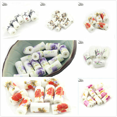 10pcs Wholesale Jewelry Making Column Shape Spacer Porcelain Beads 9X18mm