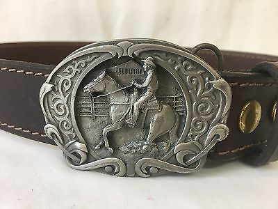 Vintage 1986 Quarter Horse Bergamot Brass Belt Buckle with Leather Belt