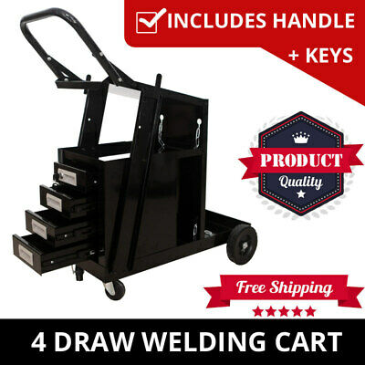 Welding Cart Trolley With 4 Drawers Welder Storage Bench MIG TIG ARC MMA Plasma