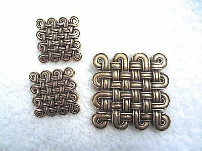 MMA Etruscan Woven Clip Earrings & Pin Pendant Set Metropolitan Museum NY --Mint