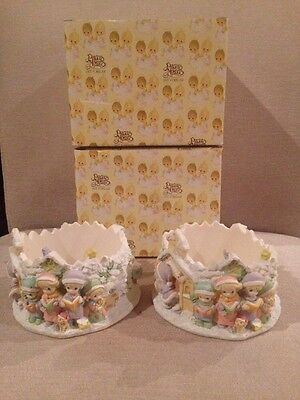 Two Precious Moments Winter Pillar Candle Holder 984590 Xmas Carrollers 1999