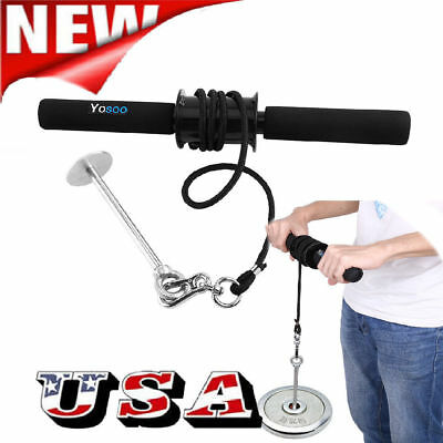 New Forearm Roller Exercise Hand Wrist Grip Workout Weight Strength Gym Bar Arm