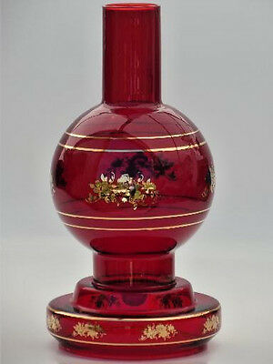 """VINTAGE RUBY RED BLOWN GLASS SHADE HURRICANE CANDLE HOLDER 13"""" Center Piece"""