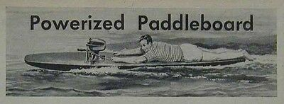 Paddleboard Surfboard Inboard Powered 1951 How-To build PLANS