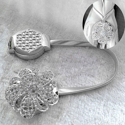 Crystal Flower Magnetic Retractable Curtain Clips Tie Backs Holdbacks Decorarion