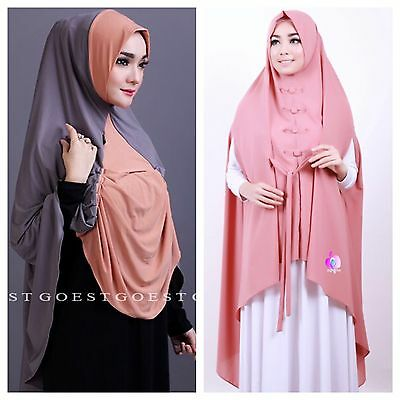 Peach & Gray Long Instant Hijab Bundle Slip On Khimar One Piece Scarf Abaya
