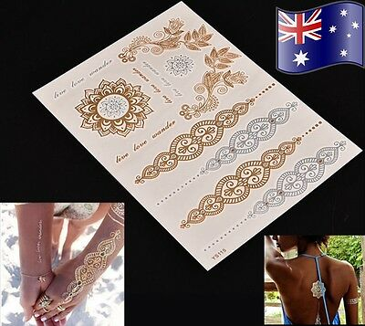 Temporary Flash Tattoo Inspired Body Makeup Sticker Gold Silver Metallic