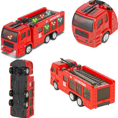 Kids Toy Fire Truck Electric Flashing Lights and Siren Sound Bump Go FINGER Red