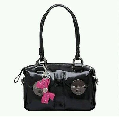 MIMCO Peek A Bow Key Ring Chain Keyring Keychain Hot Pink Leather NEW With Tag