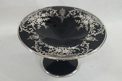 Vintage Mid Century Art Nouveau style Sterling Overlay Black Glass Compote
