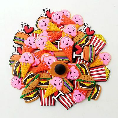 50pcs/set Ice Cream Chips Hamburger Shoe Charms Fit Jibbitz Croc Bracelets