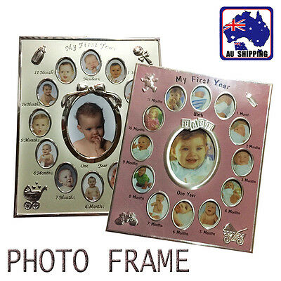 First Year Newborn Baby Collage 12 Month Photo Frame Keepsake Pink Beige BPHT437