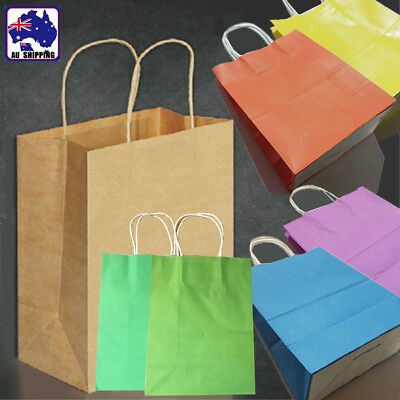 50pcs 26x20x11cm Kraft Paper Bag Gift Carry Shopping Wrap w/ Handle WGIF474
