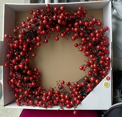 """24"""" Pre Lit Battery Operated Sparkling Red Berry Christmas Wreath Indoor Decor"""