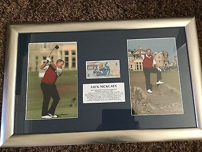 JACK NICKLAUS hand SIGNED RBS £5 & FRAMED Photo Display Autograph GOLF