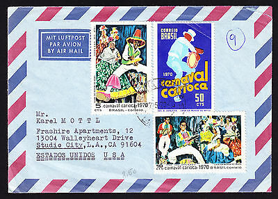 Brazil 1970 Airmail cover displaying Brazilian Carnival design stamps to America