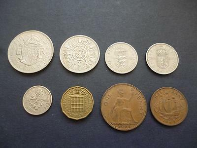 1963 8 Coin Circulated Set Half Crown Down To Halfpenny In Good Used Condition.