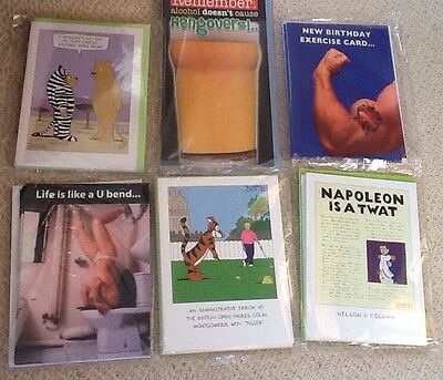 wholesale joblot quality humour birthday greetings cards - 6 packs of 6 designs