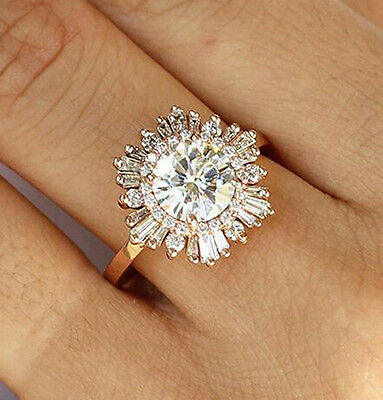 2 ct 10k Yellow Gold Engagement Ring Jewelry Round Baguette Halo Solitaire Cz nw