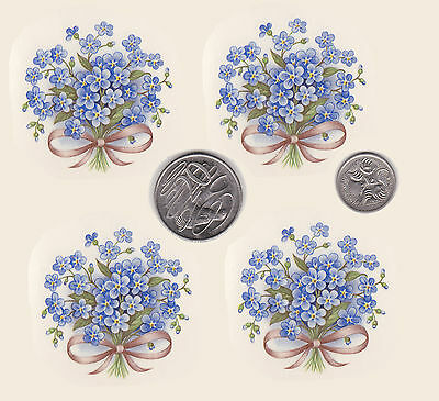 """4 x Waterslide ceramic decals Decoupage. Forget-me-nots. Approx. 2"""" x 2"""" PD415"""