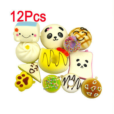 MS 12pcs Random Mini Kawaii Squishies Soft Foods Panda Donuts Cell Phone Charms