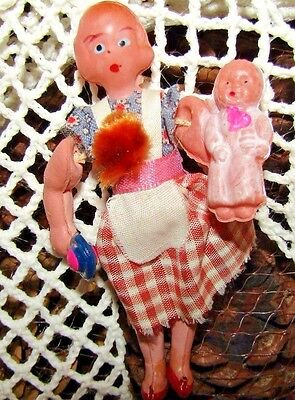 1930s OLD MINIATURE CELLULOID DOLL  GIRL WITH BABY AND RATTLE VG