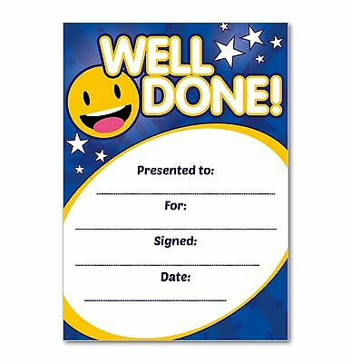 Well Done Certificate (BLUE) - Pack of 16 A6 Home Note Cards - Ideal for School