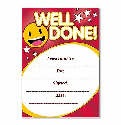 Well Done Certificate (RED) - Pack of 16 A6 Home Note Cards - Ideal for School