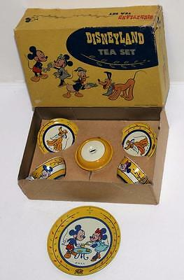 "DISNEY 1950's LITHOGRAPHED TIN ""DISNEYLAND TEA SET"" COMPLETE 7 PIECES-BOXED SET"