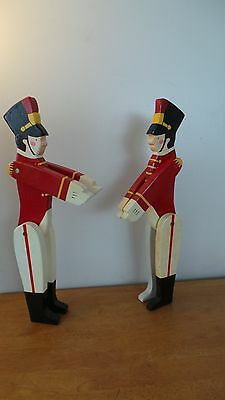 2 Vintage Handmade Handpainted Wood Christmas Soldier Articulating Arms Legs