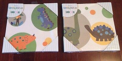 Set Of 2 -New Lambs Ivy Canvas Wall Art Baby Dino Dinosaurs Nursery Child @