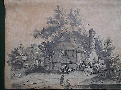 Antique Early 19Th Century Graphite Drawing 1847 A Rural Homestead