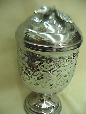 "SALE HANDMADE BRASS SILVER PLATED ETROG BOX MADE IN ISRAEL VINTAGE 1960""s"