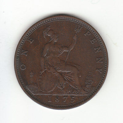1875 Great Britain Victoria 1 Penny.  WIDE DATE.