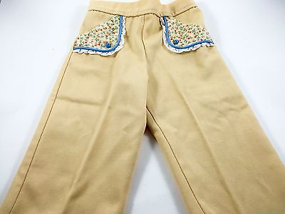 Vintage Girls Yellow Pants Blue Flower Floral Pockets Pull On Elastic Waist