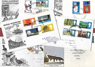 Six 1966 First Day Covers - Burns - Birds - Football - Technology - Landscapes.