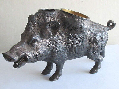 Rare Large Antique Table Top Spelter Wild Boar Pig With Glass Eyes & Brass Cup