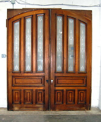 Antique 1910s Pocket Doors w/ Wheel Cut Glass, Architectural Salvage
