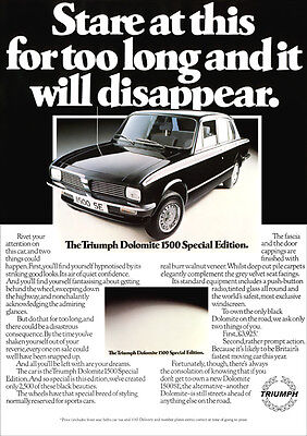 Triumph Dolomite 1500 Special Edition Se Retro A3 Poster Print From 70's Advert