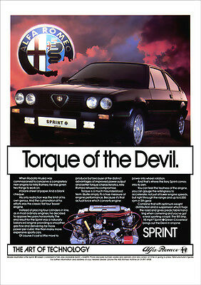 Alfa Romeo Sprint Retro A3 Poster Print From Classic 80's Advert